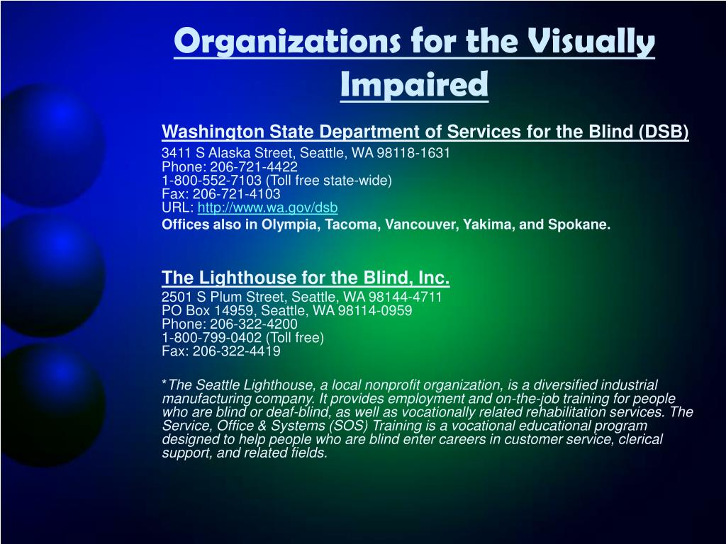 Organizations for the Visually Impaired
