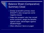 balance sheet comparative summary close
