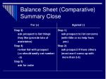 balance sheet comparative summary close30
