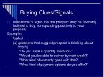 buying clues signals