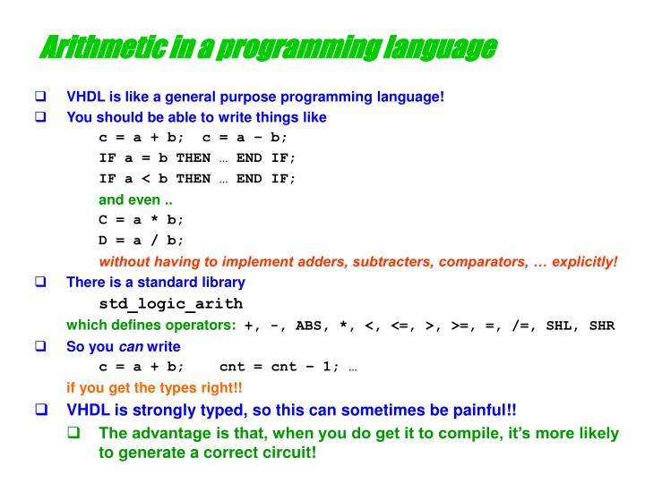 Arithmetic in a programming language
