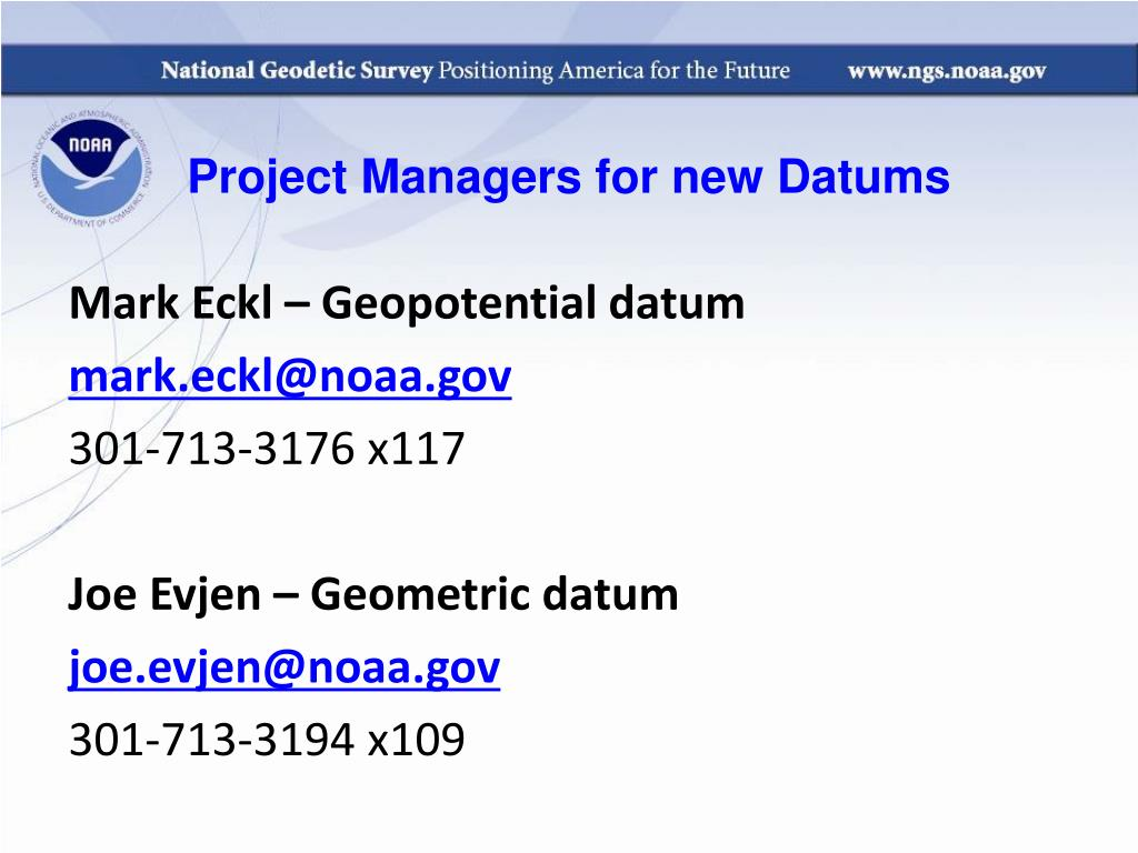 Project Managers for new Datums