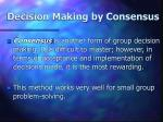 decision making by consensus