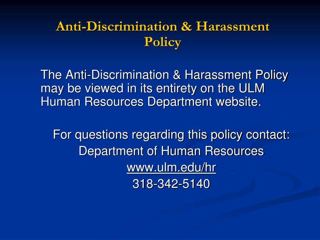 Anti-Discrimination & Harassment Policy