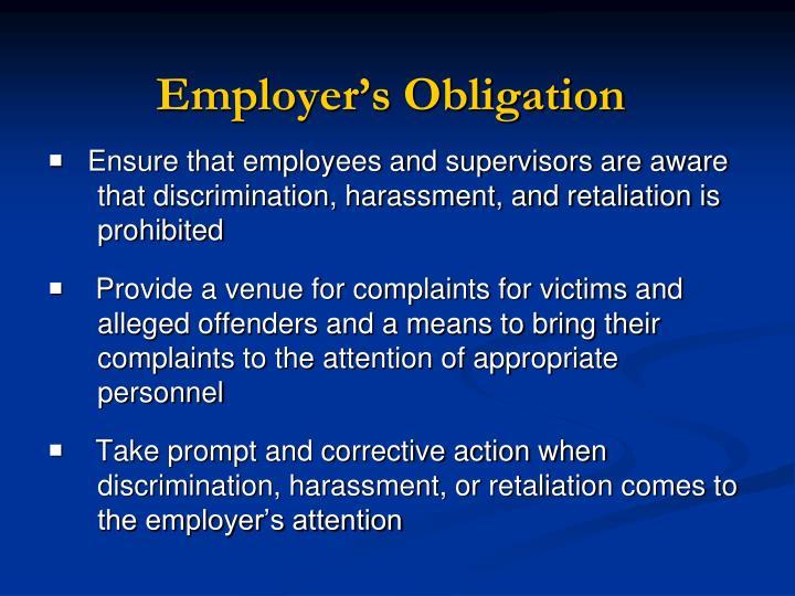 Employer's Obligation