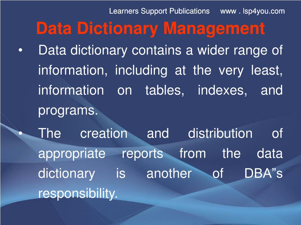 Data Dictionary Management