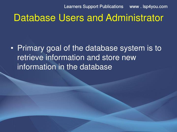 Database users and administrator2