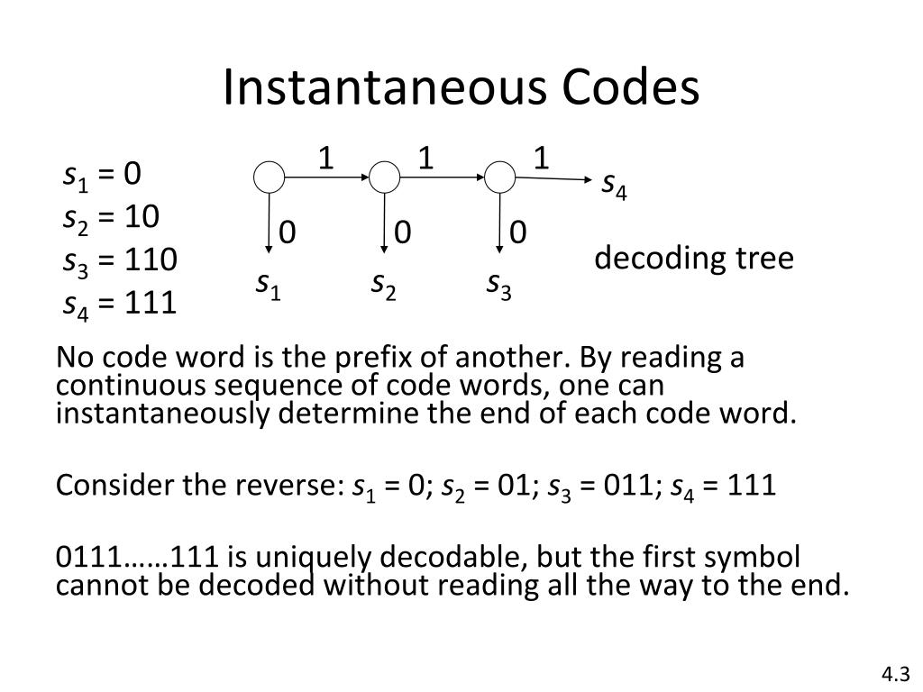 Instantaneous Codes