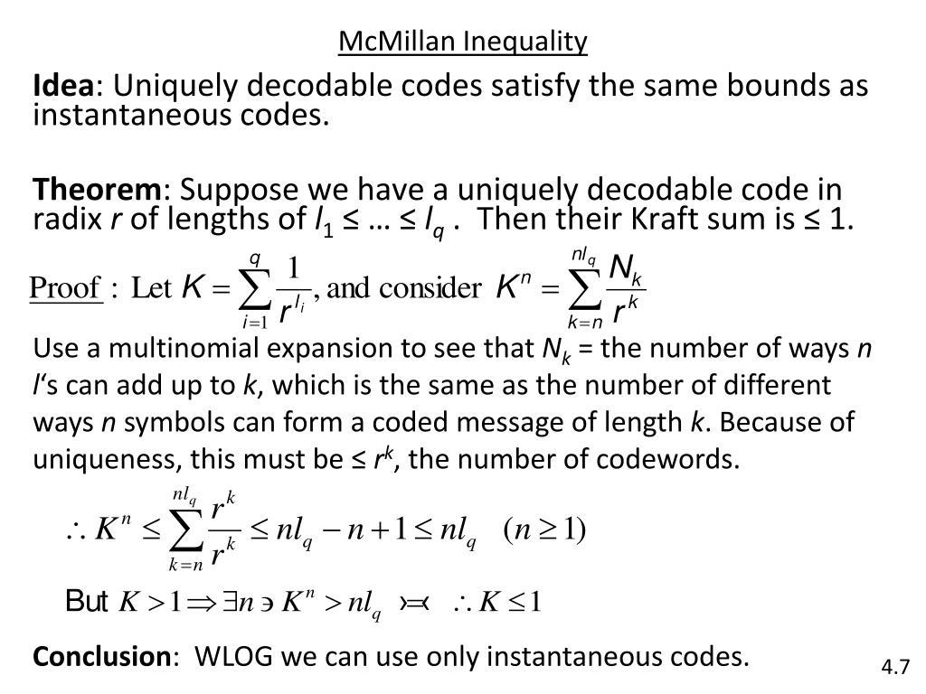 McMillan Inequality