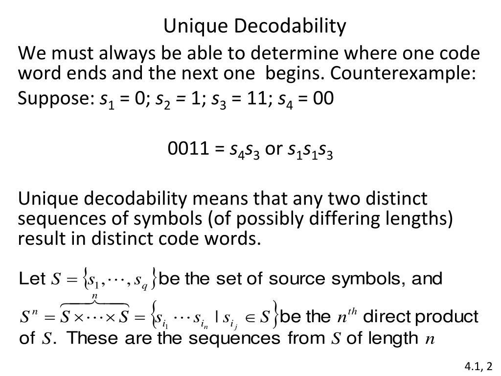 Unique Decodability