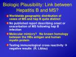 biologic plausibility link between hepatitis b and ms