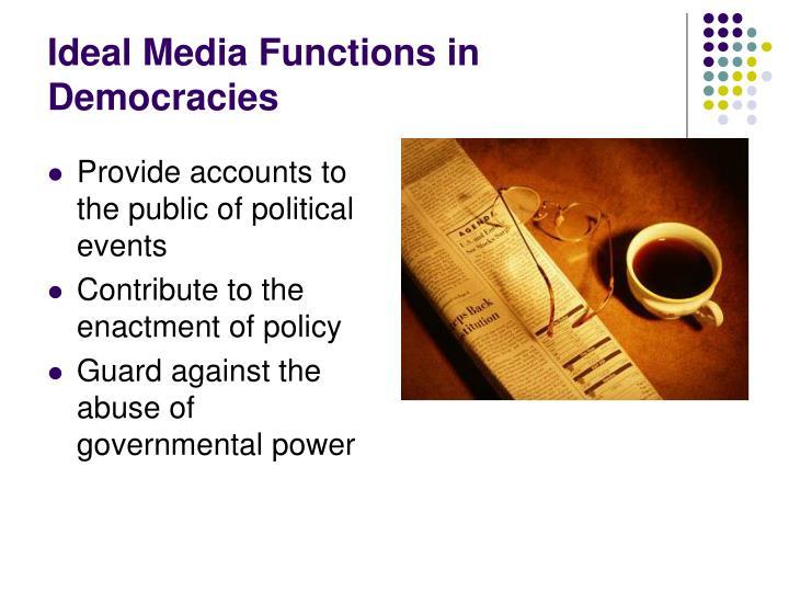 Ideal media functions in democracies