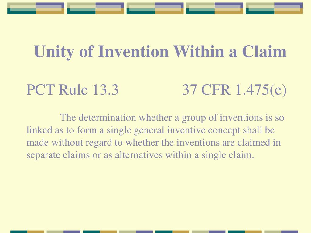 Unity of Invention Within a Claim