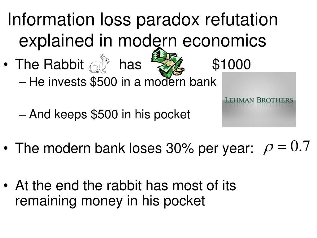 Information loss paradox refutation explained in modern economics