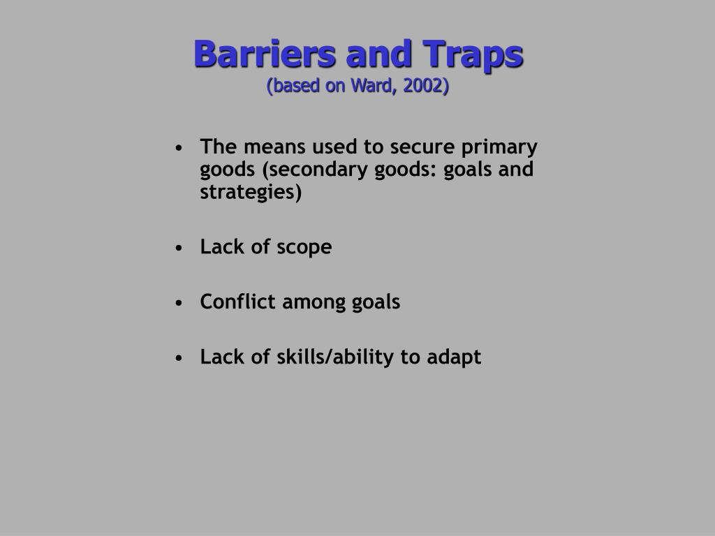 The means used to secure primary goods (secondary goods: goals and strategies)