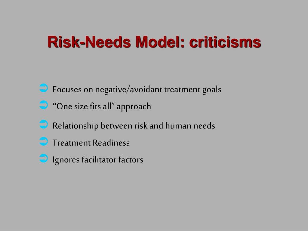 Risk-Needs Model: criticisms