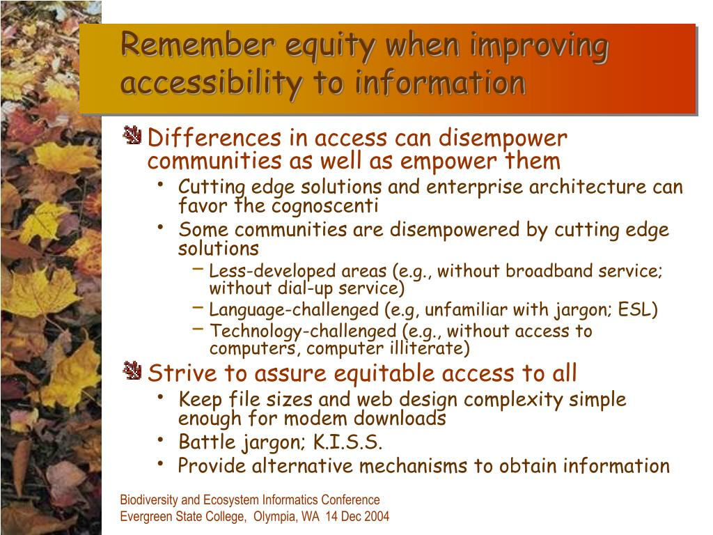 Remember equity when improving accessibility to information