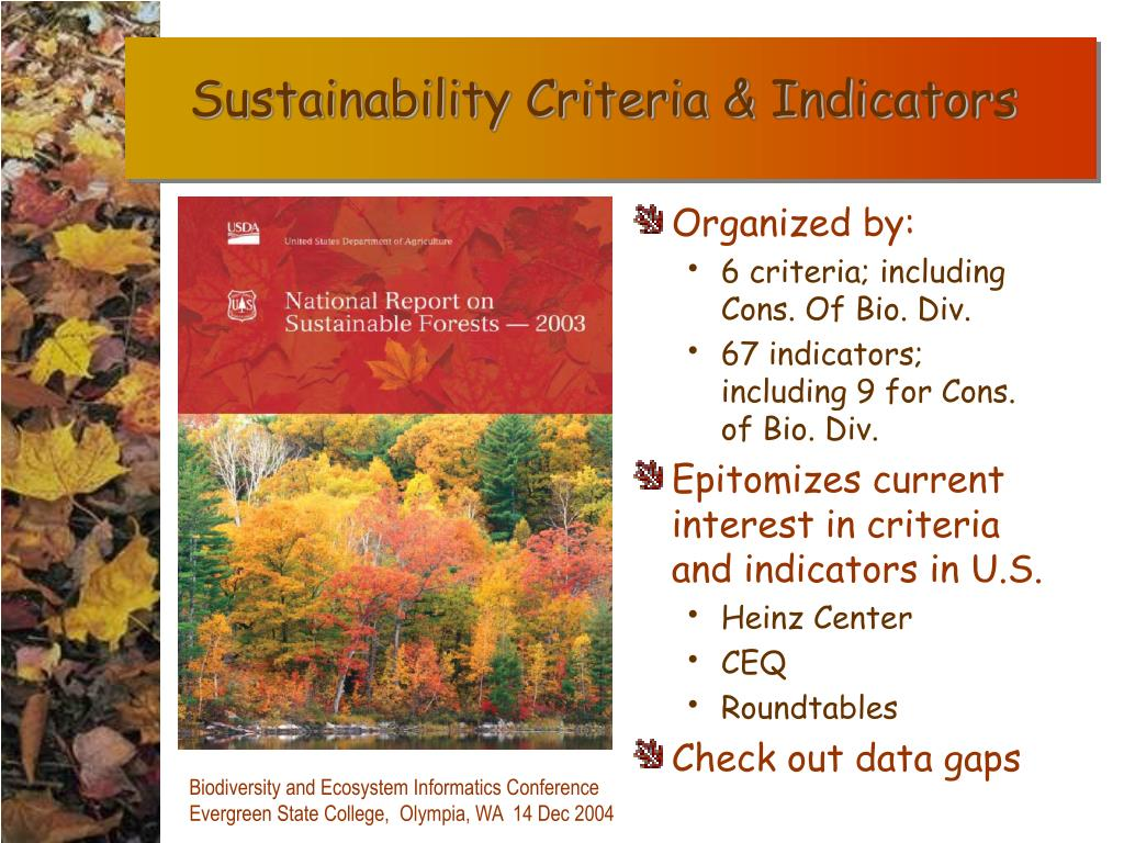 Sustainability Criteria & Indicators
