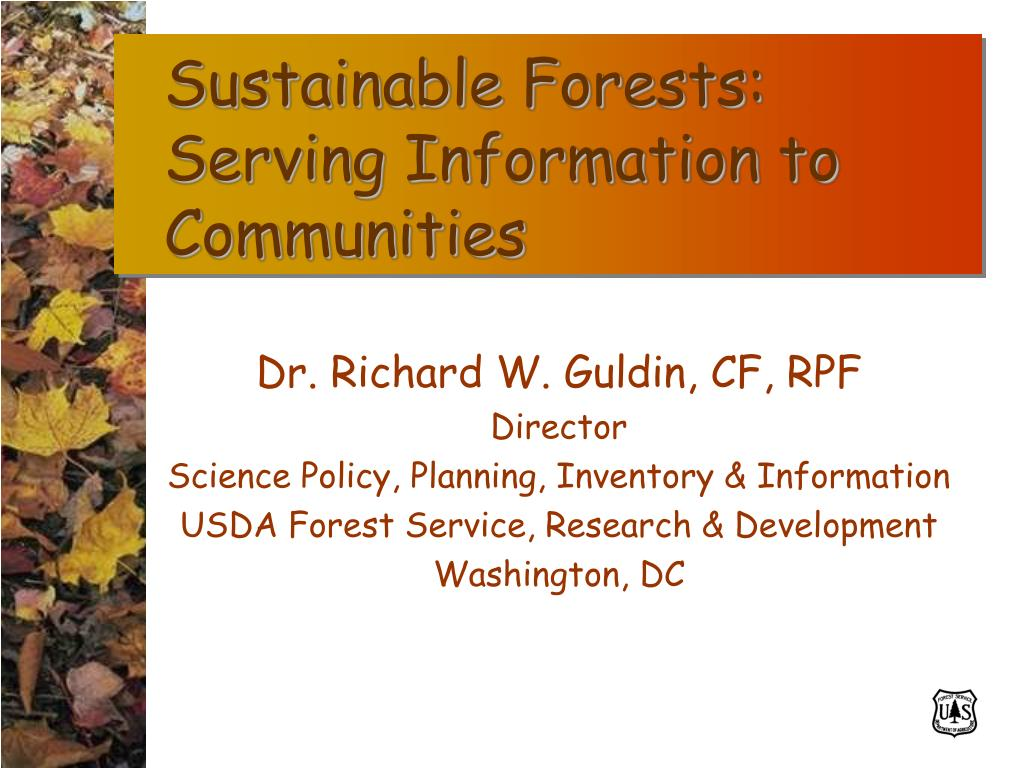 Sustainable Forests:  Serving Information to Communities