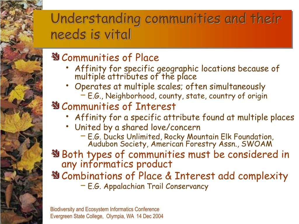 Understanding communities and their needs is vital