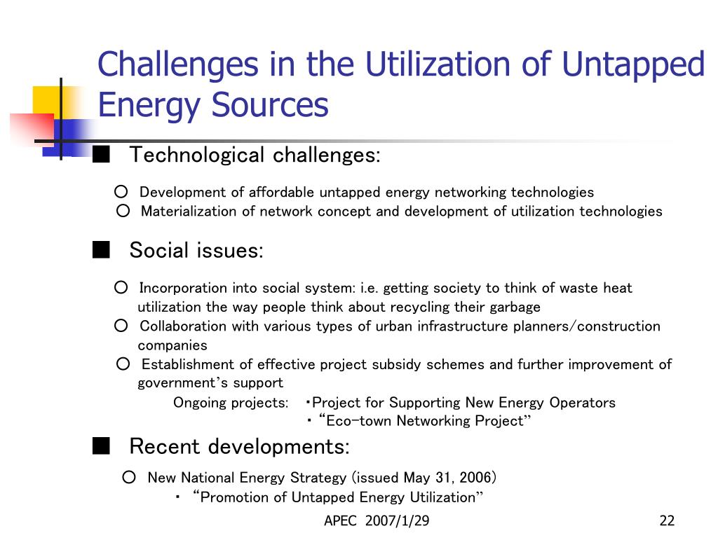 Challenges in the Utilization of Untapped Energy Sources