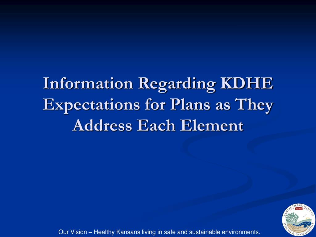 Information Regarding KDHE Expectations for Plans as They Address Each Element