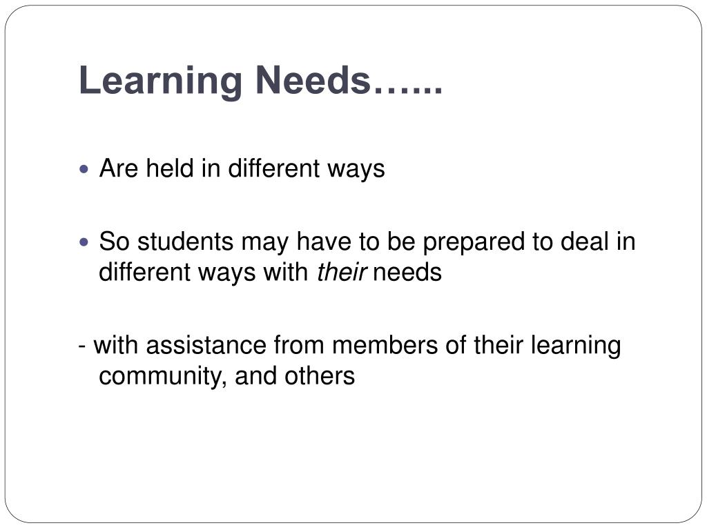 Learning Needs…...