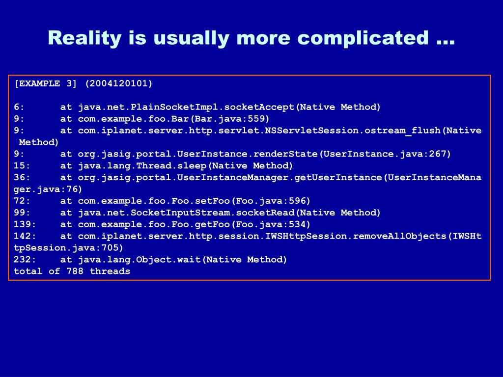 Reality is usually more complicated …