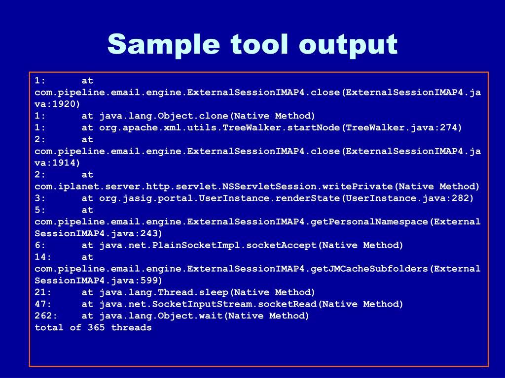 Sample tool output