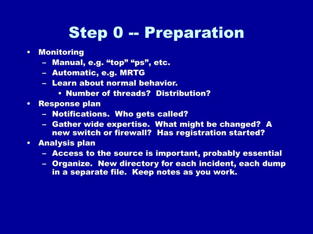 Step 0 -- Preparation