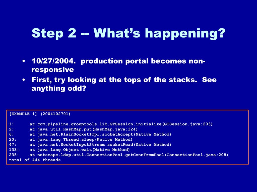 Step 2 -- What's happening?