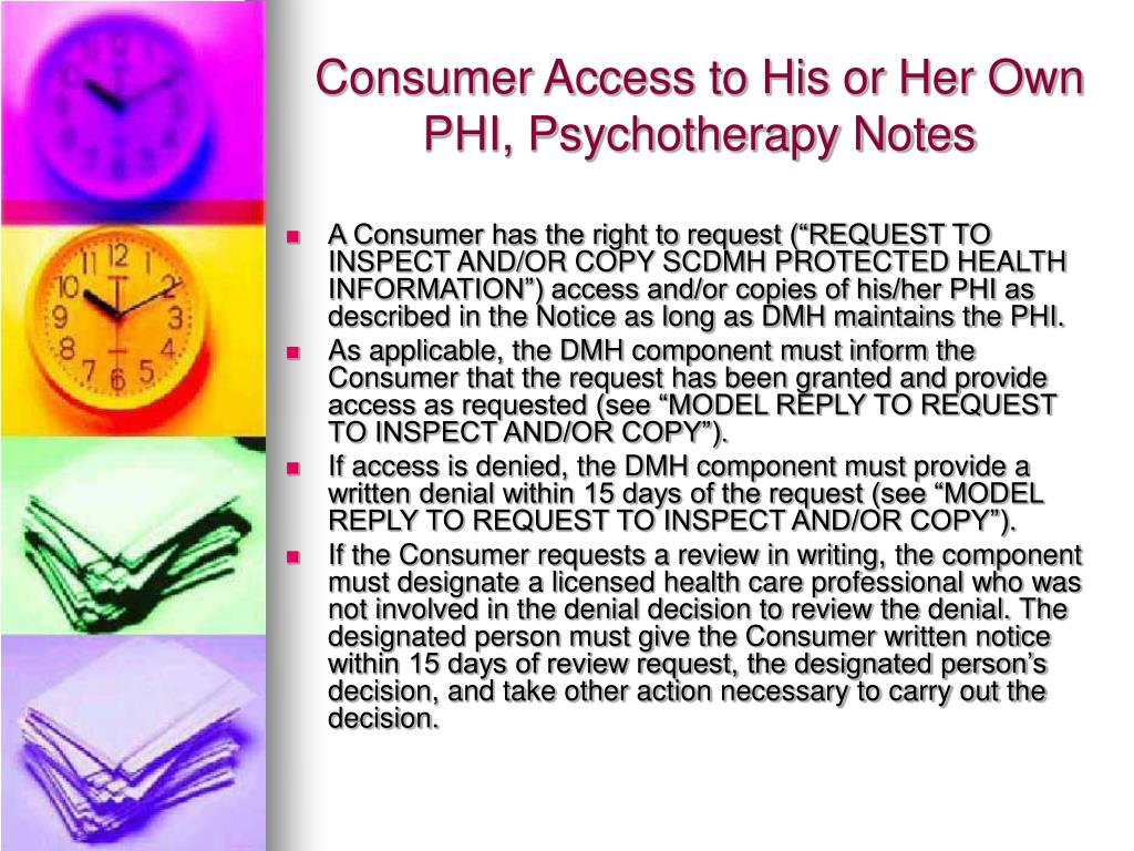 Consumer Access to His or Her Own PHI, Psychotherapy Notes