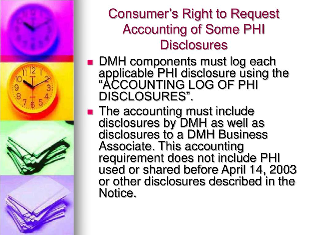 Consumer's Right to Request Accounting of Some PHI Disclosures