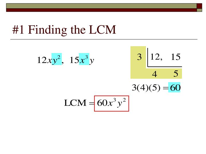 1 finding the lcm