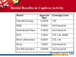 recent benefits in captives activity