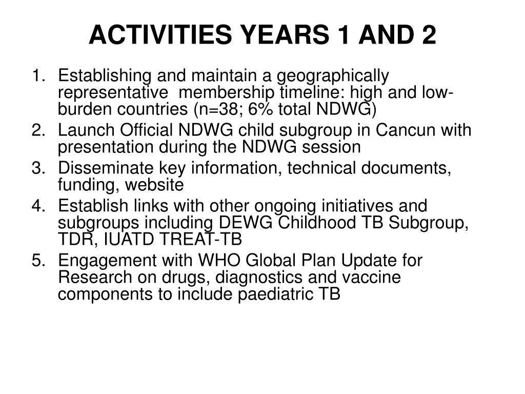 ACTIVITIES YEARS 1 AND 2