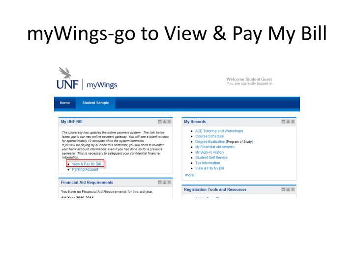 Mywings go to view pay my bill