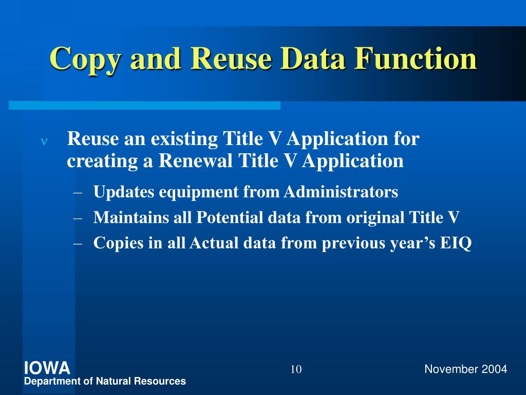 Copy and Reuse Data Function