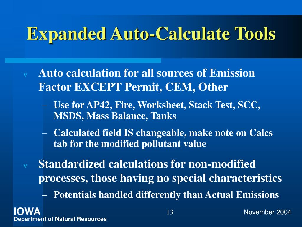 Expanded Auto-Calculate Tools