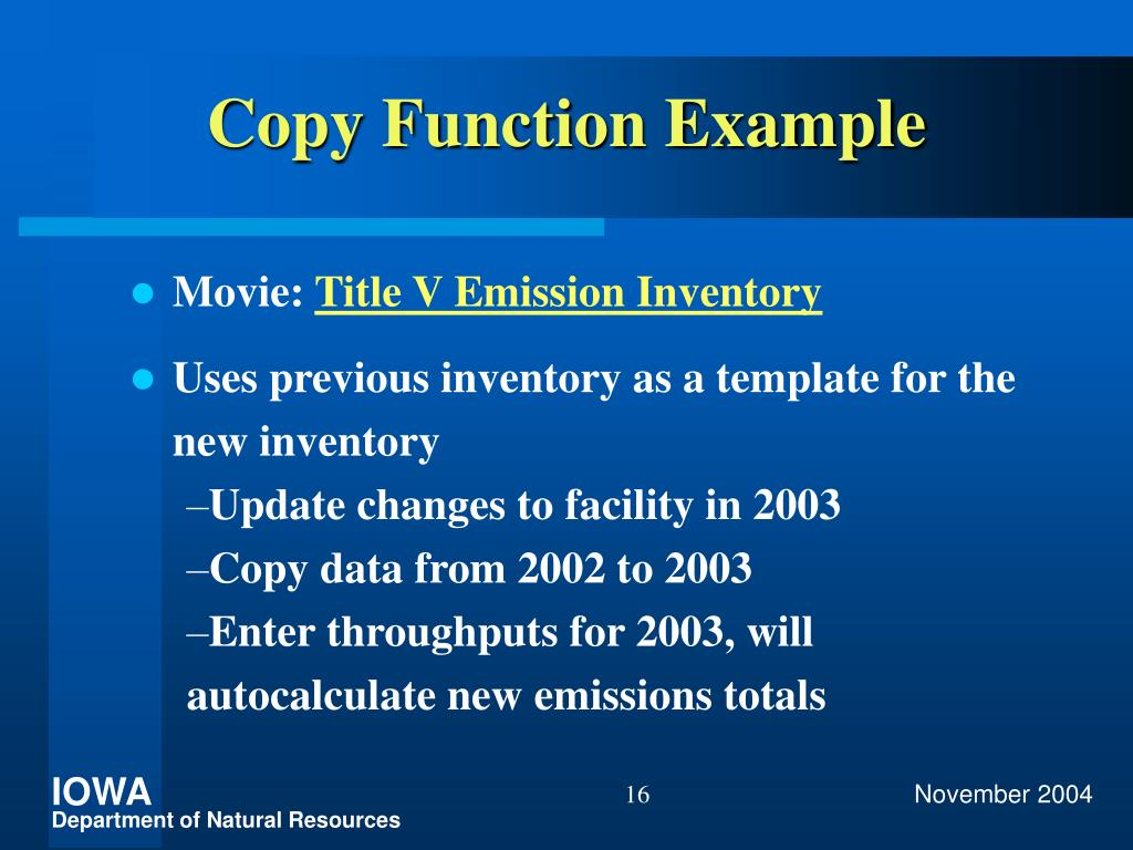 Copy Function Example