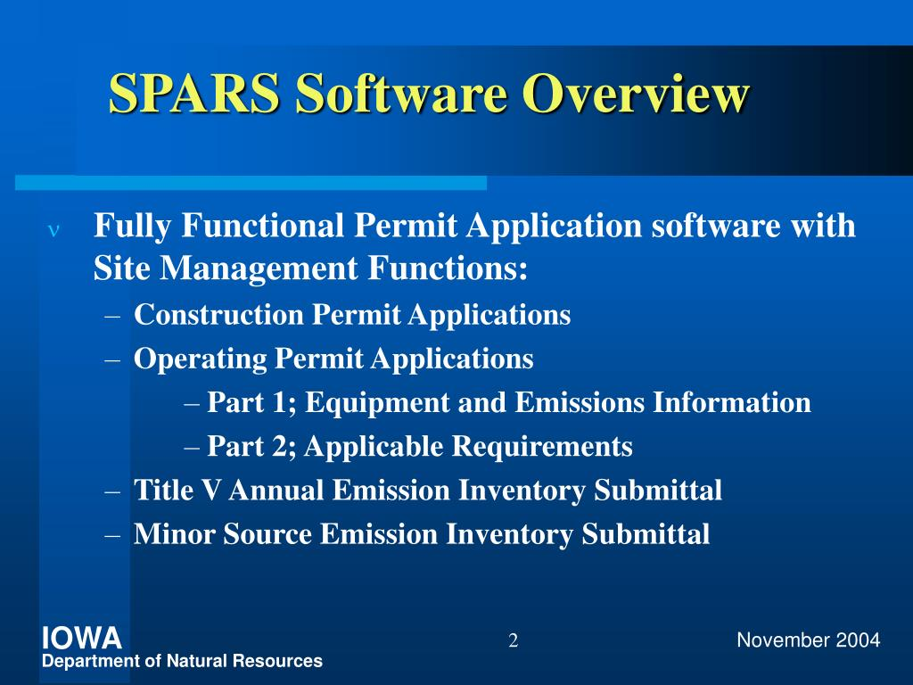 SPARS Software Overview