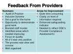 feedback from providers