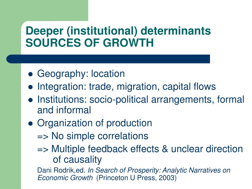 Deeper (institutional) determinants