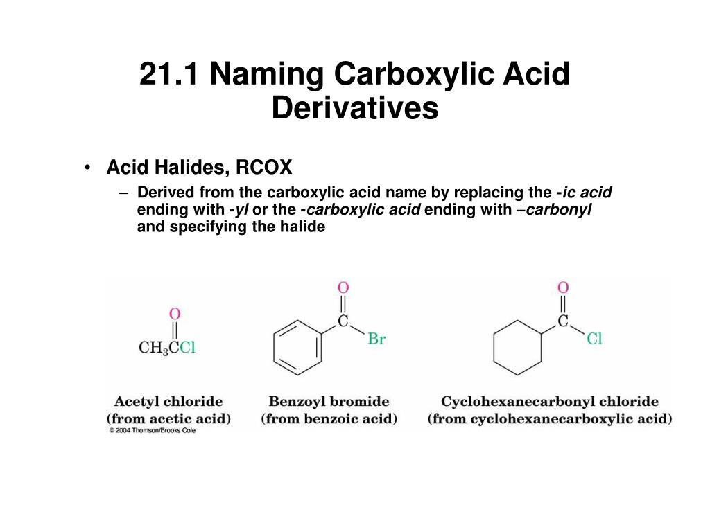 21.1 Naming Carboxylic Acid Derivatives