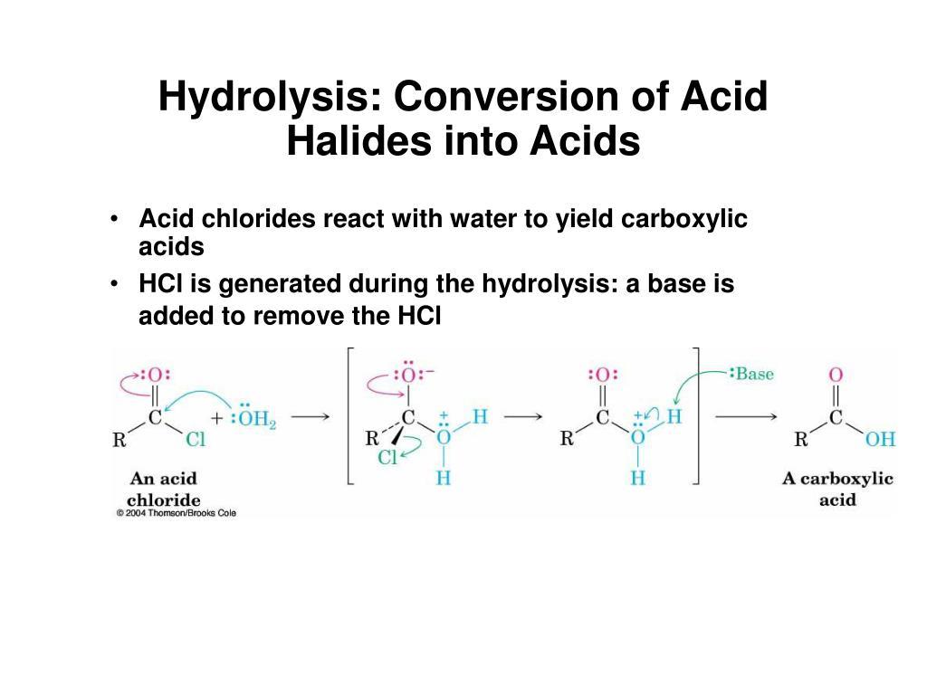 Hydrolysis: Conversion of Acid Halides into Acids