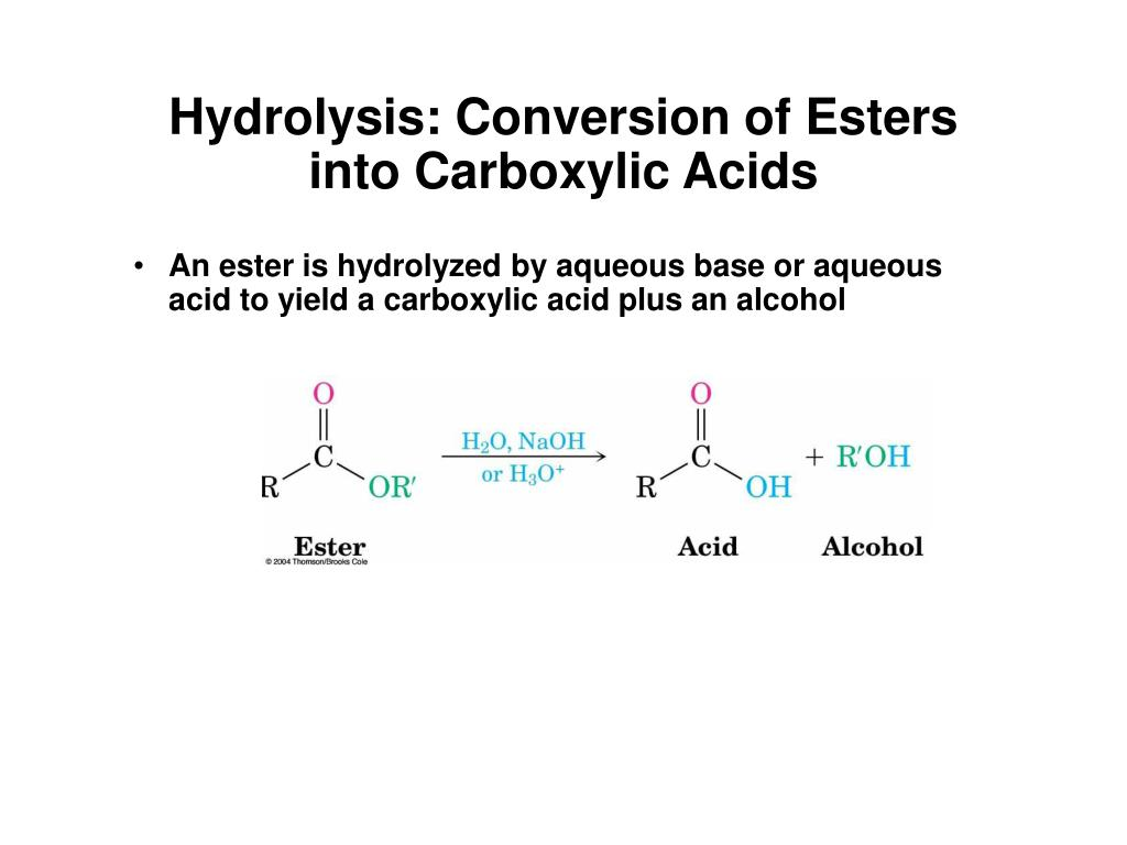 Hydrolysis: Conversion of Esters into Carboxylic Acids
