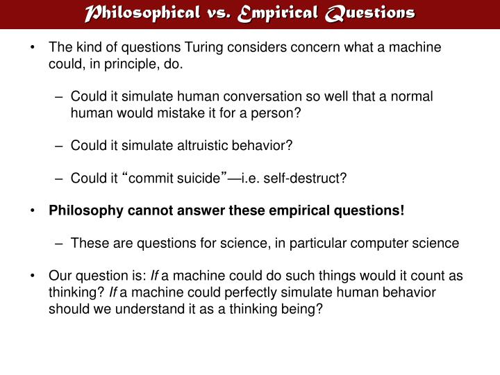 Philosophical vs empirical questions