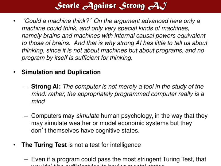 Searle against strong ai
