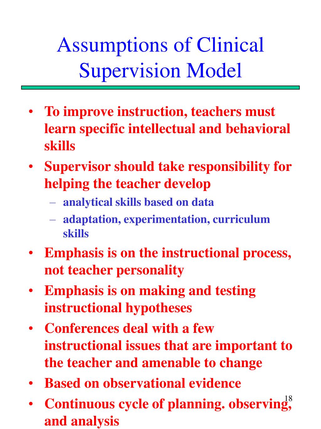 Assumptions of Clinical Supervision Model