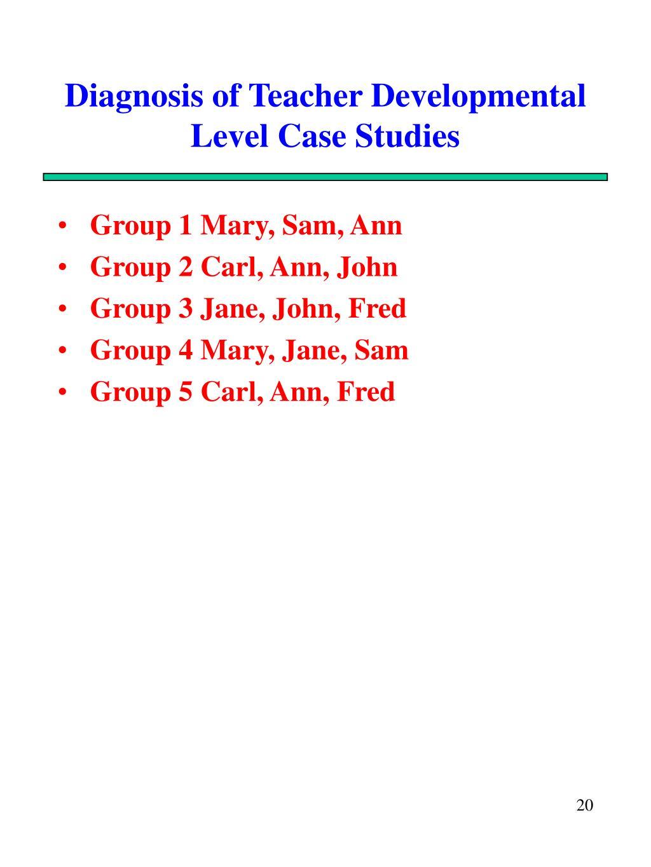 Diagnosis of Teacher Developmental Level Case Studies